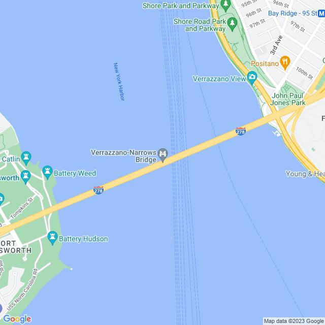 Map of Verrazano Narrows Bridge