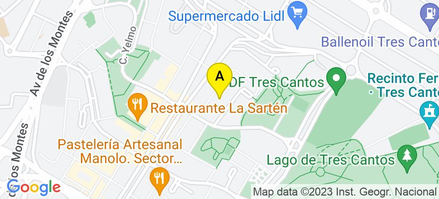 situacion en el mapa de . Direccion: Sector foresta 34, 28760 Tres Cantos. Madrid