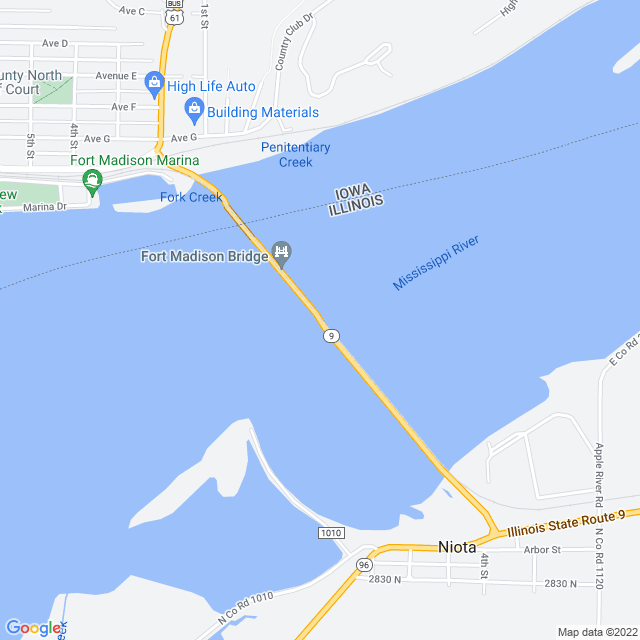 Map of Fort Madison Toll Bridge