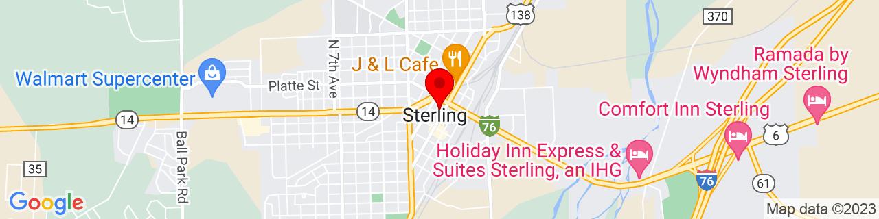 Google Map of 40.62555555555556, -103.20777777777778