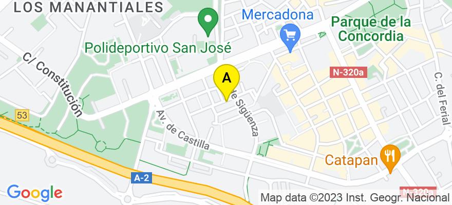 situacion en el mapa de . Direccion: Calle Juan Diges Antón 23, 19002 Guadalajara. Guadalajara