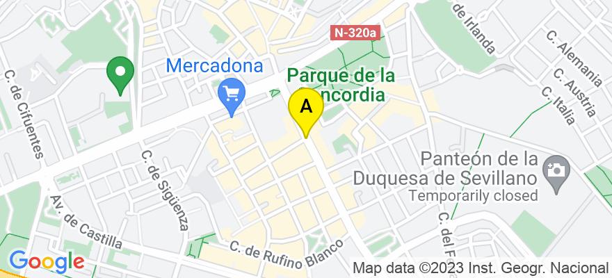 situacion en el mapa de . Direccion: Wenceslao Argumosa 1, 2º A, 19003 Guadalajara. Guadalajara
