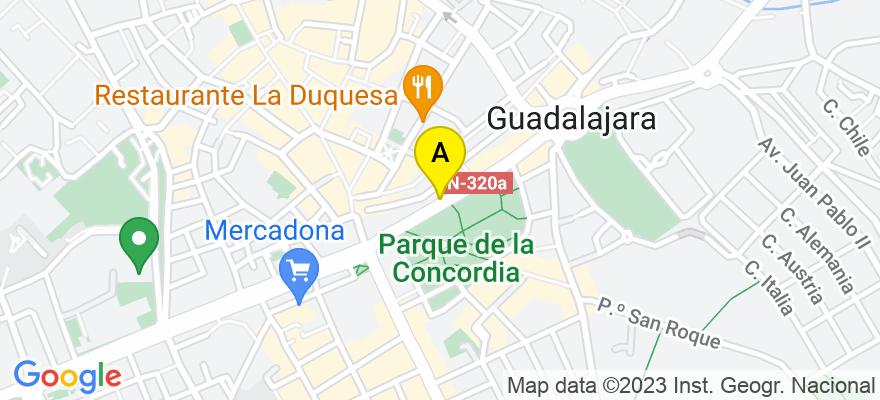 situacion en el mapa de . Direccion: c/ Capitán Boixareu Rivera, 17, 2º B, 19001 Guadalajara. Guadalajara