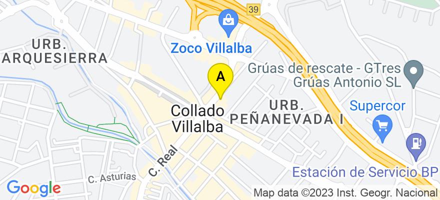 situacion en el mapa de . Direccion: C/ Real 50, 28400 Collado Villalba. Madrid