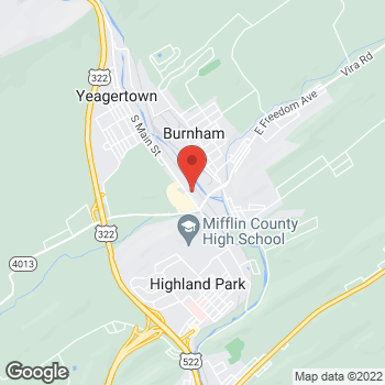 Map of Verizon Authorized Retailer - TCC - Burnham at 225 North Logan St, Burnham, PA 17009