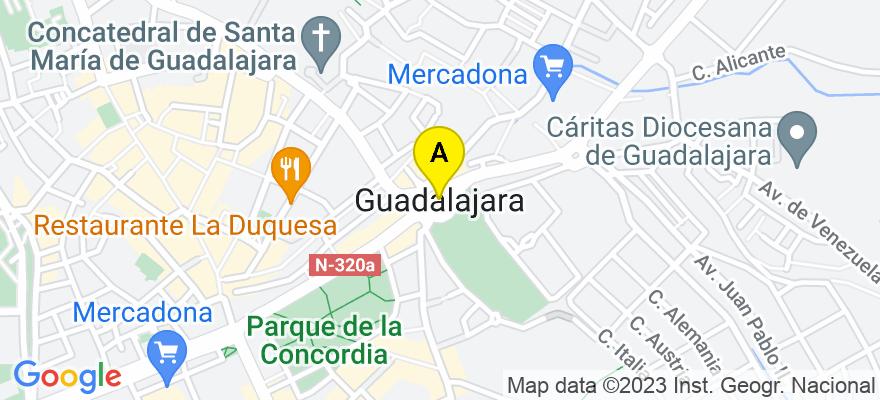 situacion en el mapa de . Direccion: C/ Virgen de la Soledad 3A Oficina 6 Despacho 3, 19003 Guadalajara. Guadalajara