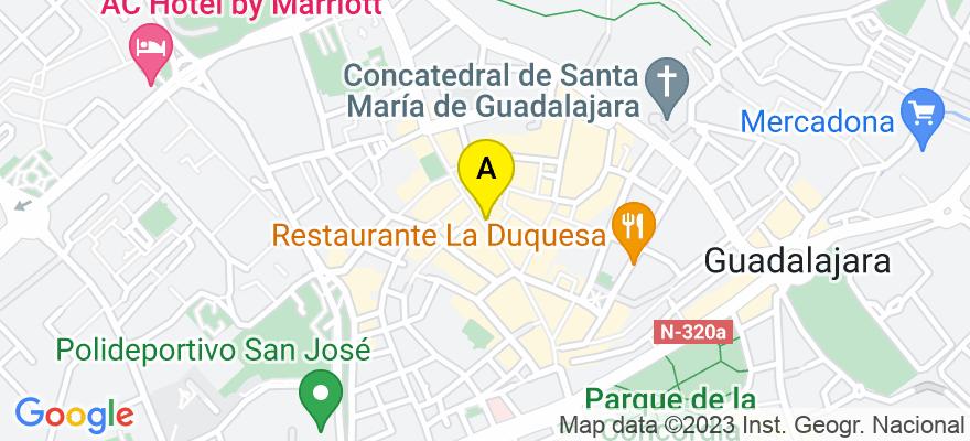 situacion en el mapa de . Direccion: C/ Mayor, 15, 1º, 19001 Guadalajara. Guadalajara