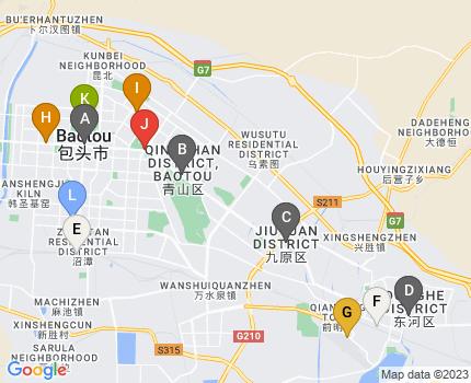 Google Maps Static API による包頭市中心部の地図