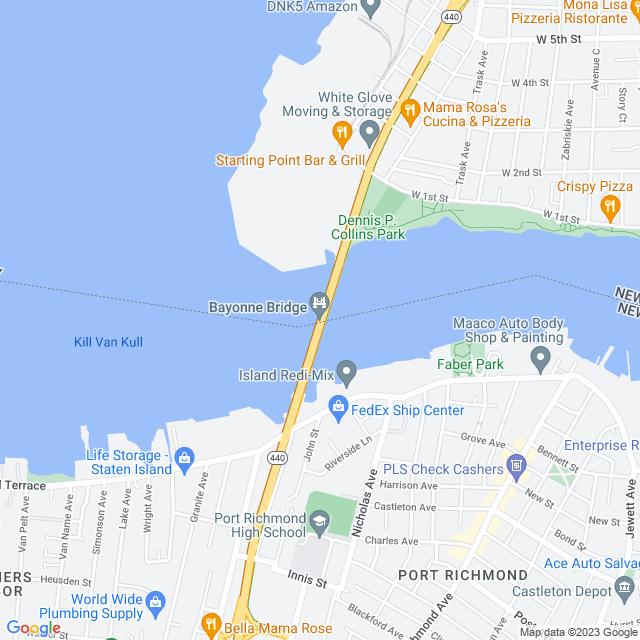 Map of Bayonne Bridge