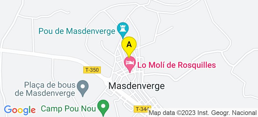 situacion en el mapa de . Direccion: c/ Pou nº 24, 43878 Masdenverge. Tarragona