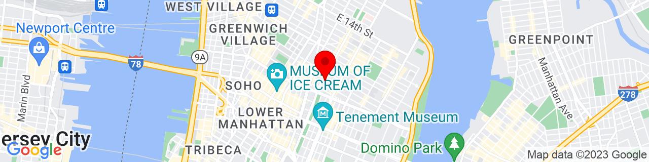 Google Map of 40.72516299999999, -73.98975899999999