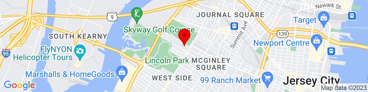 Google Map of 40.7281575, -74.0776417
