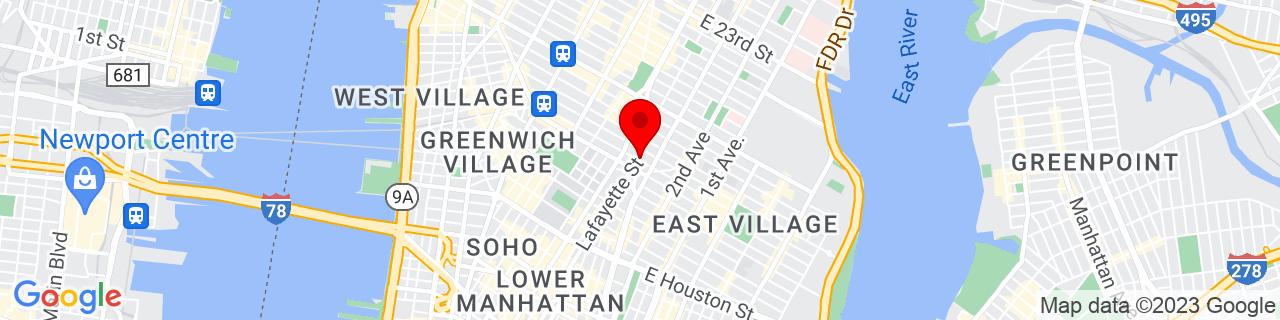 Google Map of 40.7306460659605, -73.9905300295776
