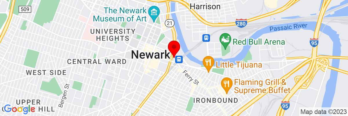 Google Map of 40.734928055556,-74.165420277778