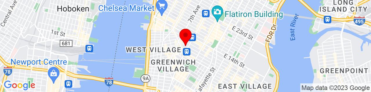 Google Map of 40.7355263, -73.9991134