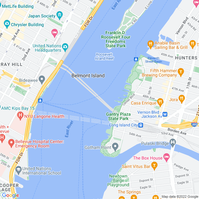 Map of Queens Midtown Tunnel