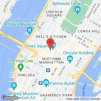Map of Guitar Center at 218 West 44th St, Manhattan, NY 10036