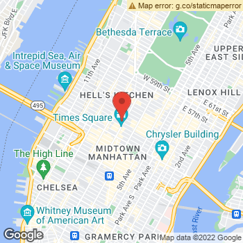 Map of AEO & Aerie Store at 1551-1555 Broadway, New York, NY 10036