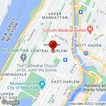 Map of Staples® Print & Marketing Services at 105 West 125th St., Harlem, NY 10027