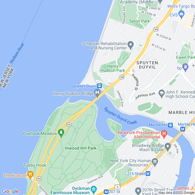 Map of Henry Hudson Bridge