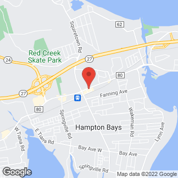 Map of Verizon Authorized Retailer - TCC at 38 E. Montauk Hwy, Hampton Bay, NY 11946