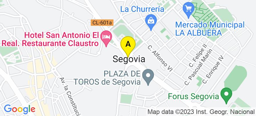 situacion en el mapa de . Direccion: C/ Cañuelos, 34 2ºB, 40001 Segovia. Segovia