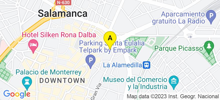situacion en el mapa de . Direccion: c/ Azafranal 48- 50, 2º C, 37001 Salamanca. Salamanca