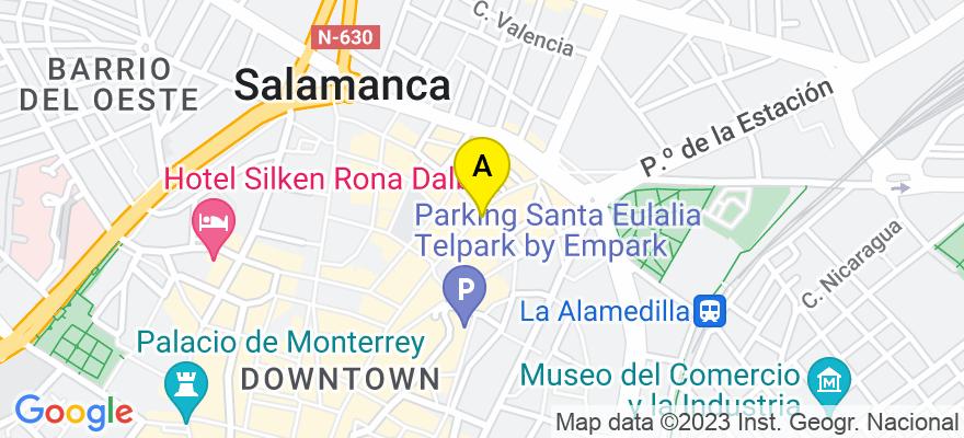 situacion en el mapa de . Direccion: C/ Toro 78-82, Oficina 7, 37002 Salamanca. Salamanca
