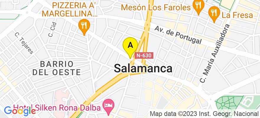 situacion en el mapa de . Direccion: Avda. de Italia, nº 8 1º Ofic. 4-5, 37006 Salamanca. Salamanca