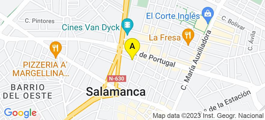 situacion en el mapa de . Direccion: Calle Valencia, 39 Bajo, 37005 Salamanca. Salamanca