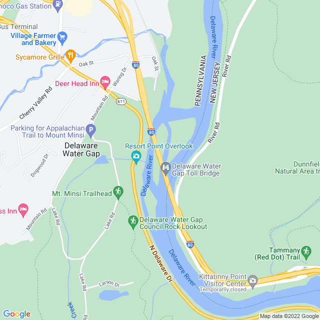 Map of Delaware Water Gap (I 80) Bridge