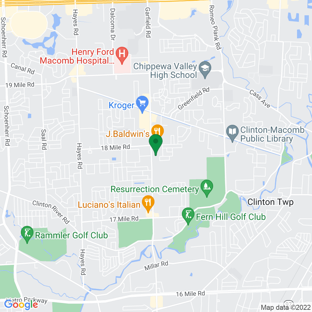 Google Map of 40680 Garfield Suite 1B Clinton Twp MI, 48038