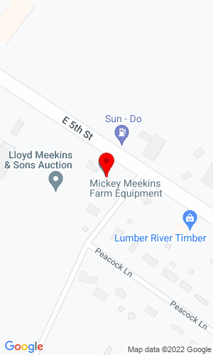Google Map of Meekins Auction Company 4070 NC Hwy 21 East, Lumberton, NC, 28538