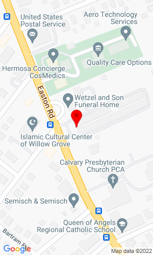 Google Map of Quaker City Auctioneers, Inc. 409 Easton Road   Ste 101, Willow Grove, PA, 19090
