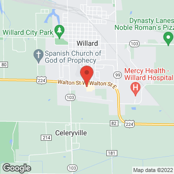Map of Taco Bell at 102 East Walton Street, Willard, OH 44890