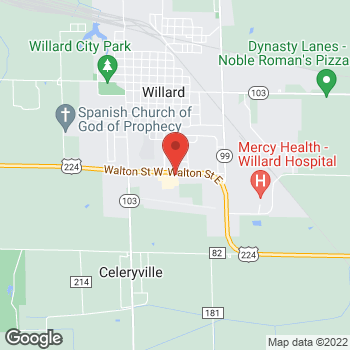 Map of Arby's at 106 E. Walton St, Willard, OH 44890-9419