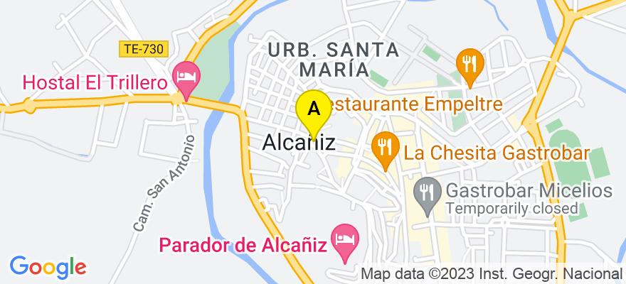 situacion en el mapa de . Direccion: av/ Aragon nº 61 bis 3º A, 44600 Alcañiz. Teruel