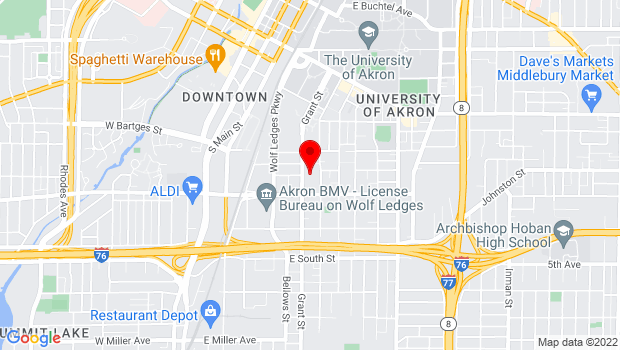 Google Map of 587 Grant Street, Akron, OH 44311