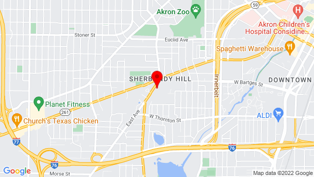 Google Map of 1055 East Ave., Akron, OH 44307