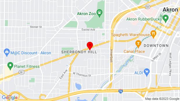 Google Map of 600 Vernon Odom Boulevard, Akron, OH 44307