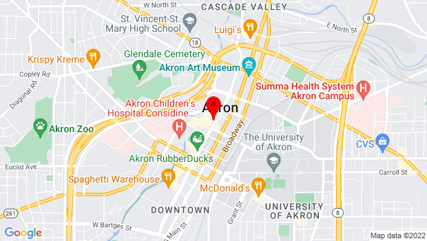 Google Map of Downtown Akron, Akron, OH 44308