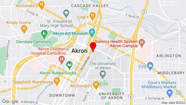 Google Map of 135 South Broadway St., Akron, OH 44308