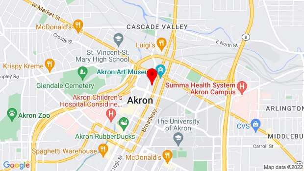 Google Map of 60 High Street, Akron, OH 44326