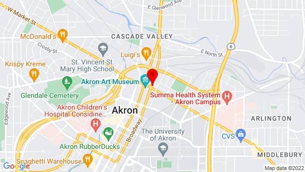 Google Map of 105 E Market St, Akron, OH 44308
