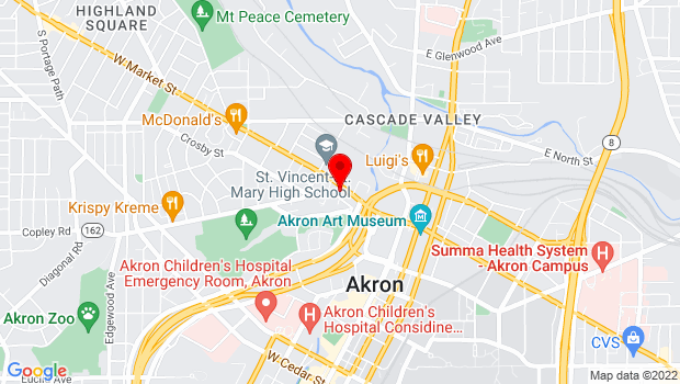 Google Map of 118 W. Market St., Akron, OH 44303