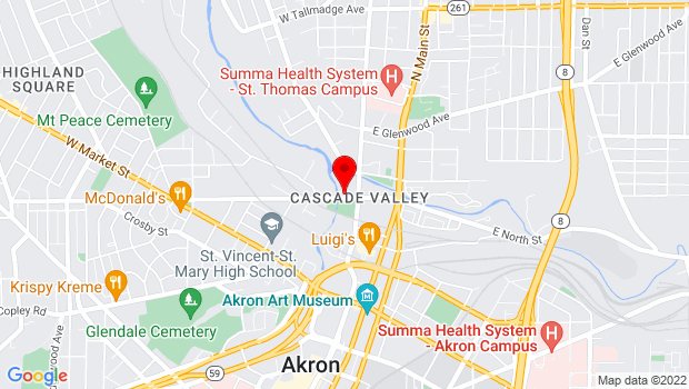 Google Map of 21 W. North St., Akron, OH 44304