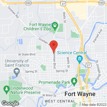 Map of Arby's at 904 W State Blvd, Fort Wayne, IN 46808-3164