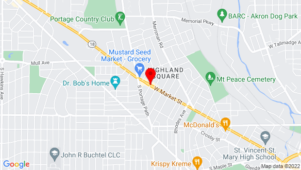 Google Map of W Market St & S Highland Ave, Akron, OH 44303