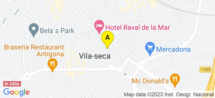 situacion en el mapa de . Direccion: C/ Sant Pere, 40, 43480 Vila-seca. Tarragona