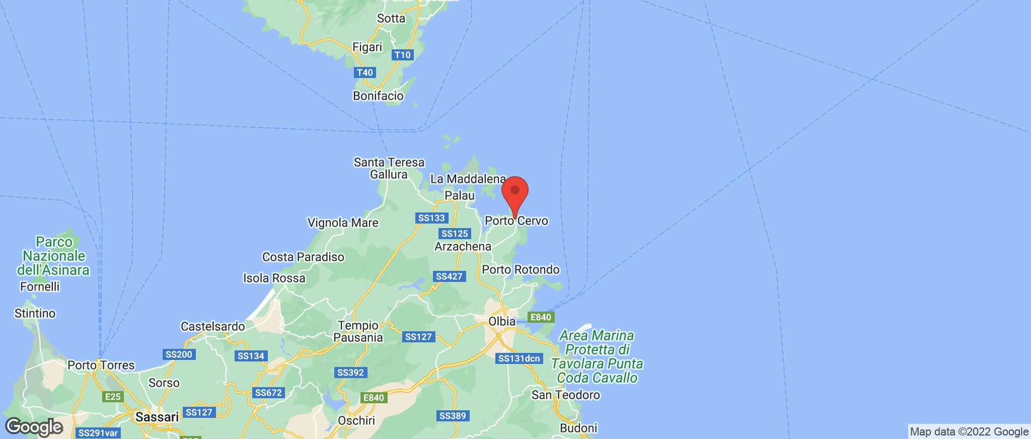 Map showing the location of Porto Cervo
